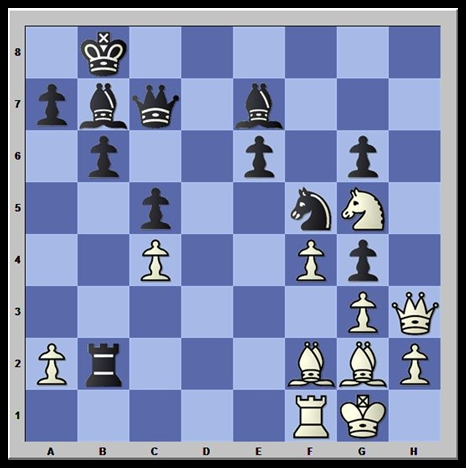 """As pretas acabaram de capturar um cavalo em """"g4"""" com o peão de """"h5"""" no vigésimo quarto lance. Brancas jogame  vencem!"""