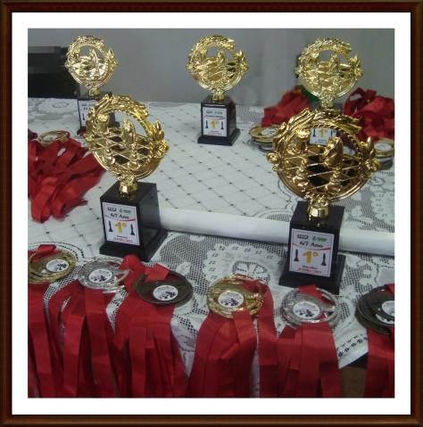 São distrubuídas 150 medalhas, sendo 30 individuais e 120 equipe, além de 10 troféus de Campeão.