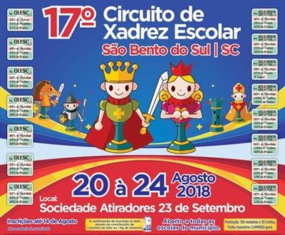 20 a 24 de AGOSTO – 17º CIRCUITO DE XADREZ ESCOLAR de São Bento do Sul