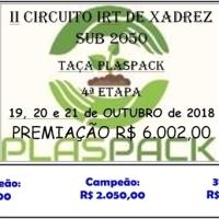 19 a 21 DE OUTUBRO – 4ª Etapa do 2º Circuito IRT de Xadrez SUB 2050 - TAÇA PLASPACK - R$ 6.002,00