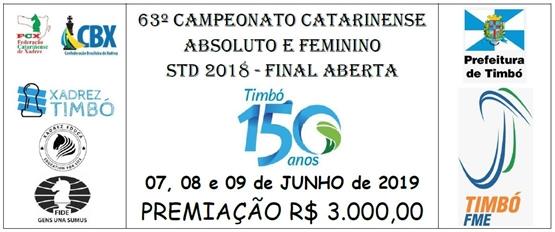 TIMBÓ – 07 A 09 DE JUNHO – 63º campeonato catarinense Absoluto e feminino std 2018 – Final aberta