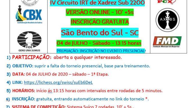 on-line– 4º CIRCUITO IRT DE XADREZ SUB 2200 – 1 ETAPA – TAÇA ENSINO MÉDIO CAMPEÃO COLÉGIO FROEBEL – 4 de julho ás 13:15