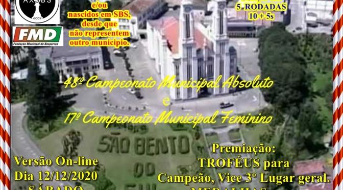 48º cAMPEONATO MUNICIPAL DE SÃO BENTO DO SUL ABSOLUTO e 17º FEMININO – versão on-line