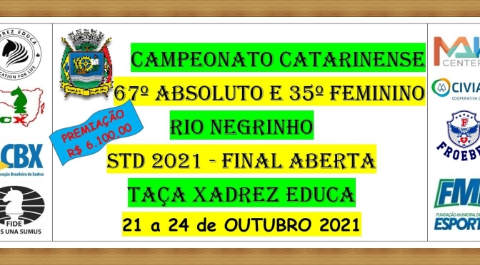 67º CAMPEONATO ABSOLUTO CATARINENSE e 35º FEMININO – RIO NEGRINHO – 21 a 24 de OUTUBRO